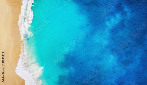 Photo Stands Asia Country Coast as a background from top view. Turquoise water background from top view. Summer seascape from air. Nusa Penida island, Indonesia. Travel - image