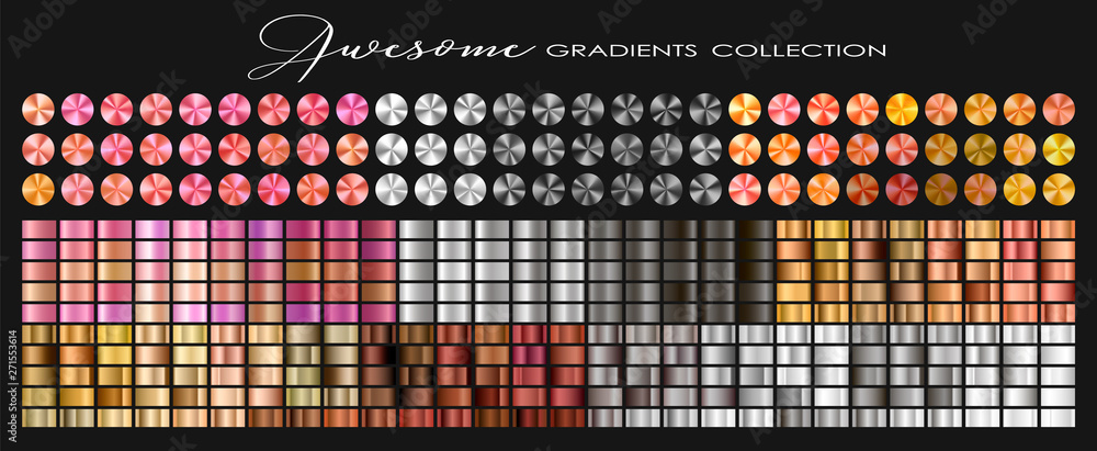 Fototapeta Trendy Gold, Silver, Copper, Rose gold, Ultra Violet collection, circular gradient set with silver, golden, copper, violet, purple, pink, red, white, grey... colors for design. Vector illustration.