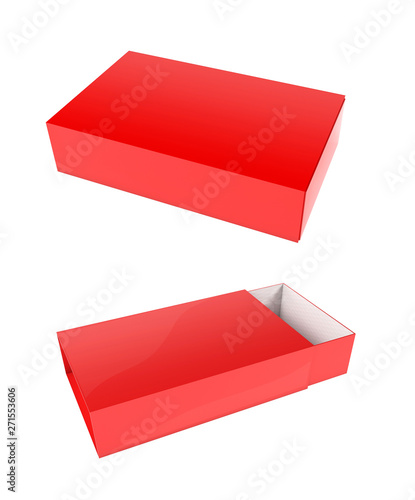 Slider paper carton set. Red box. 3d rendering illustration isolated