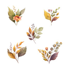 Watercolor Vector Autumn Set With Leaves And Branches Isolated On White Background.