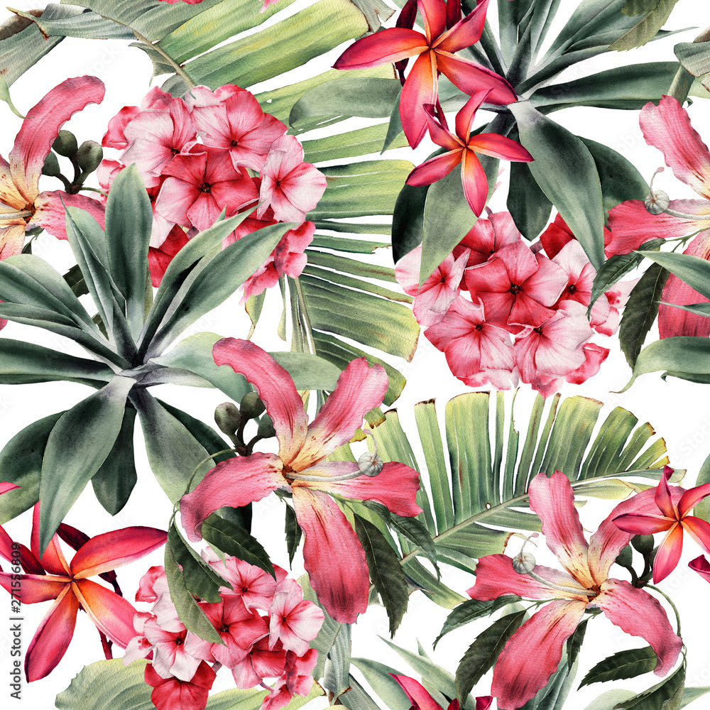 Fototapeta Seamless floral pattern with tropical flowers, watercolor.