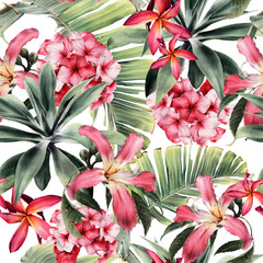 Fototapeta Liście Seamless floral pattern with tropical flowers, watercolor.