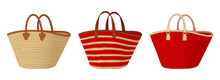 Group Of Straw Bags With Different Handles, Colorful Tote Bags, Summer Bags Vector Illustration Sketch Template On White Background