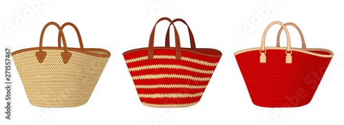 Fotografía group of straw bags with different handles, colorful tote bags, summer bags vect