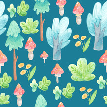 Watercolor Illustration. Cartoon Nature For Children. Seamless Pattern With Forest. Template For Both, Paper, Fabric. Trees, Bushes, Flowers, Mushrooms. Blue Background