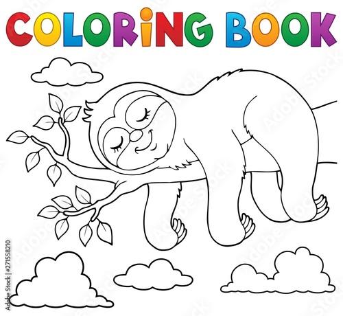 Fotobehang Voor kinderen Coloring book sleeping sloth theme 1