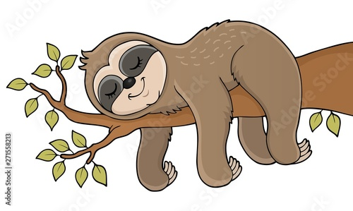 Wall Murals For Kids Sleeping sloth theme image 1
