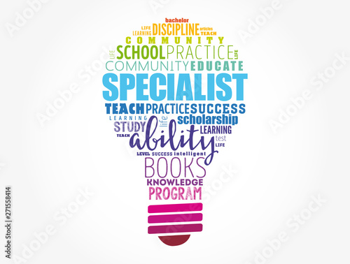 SPECIALIST light bulb word cloud collage, education concept background Canvas Print
