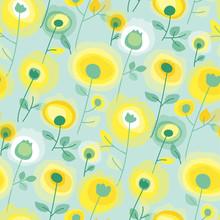 Dandelion Seamless Pattern With Geometric Texture