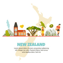 New Zealand Vector Poster With Symbols, Landmarks