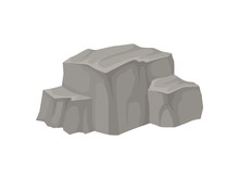 Large Stone With A Flat Top. Vector Illustration On White Background.