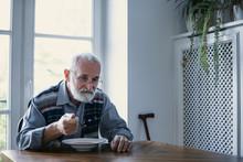 Senior Grandfather With Grey H...