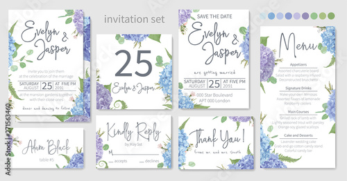 Set of wedding invitations, floral invitations, table, menu, thank you, rsvp card design Fototapet