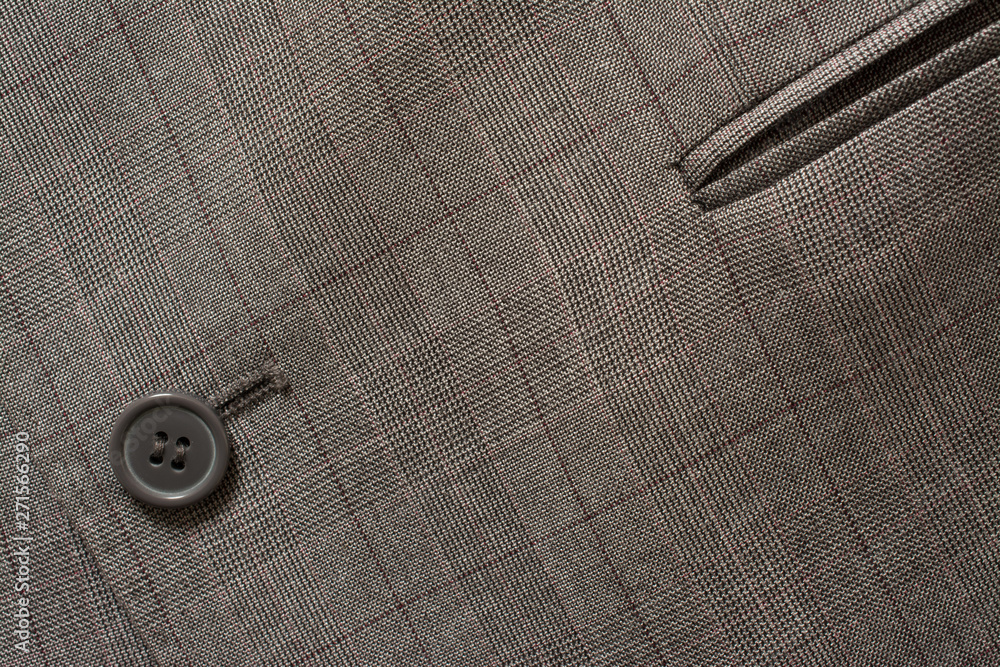 Fototapety, obrazy: Detail of closeup of suit button on pin stripped cloth. Tailoring background