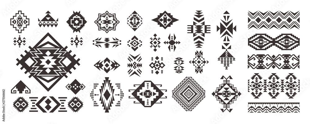 Fototapeta Set of Tribal decorative elements isolated on white background. Ethnic collection. Aztec geometric ornament.