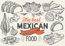 Mexican Food Illustrations - Burrito, Tacos, Quesadilla For Restaurant.