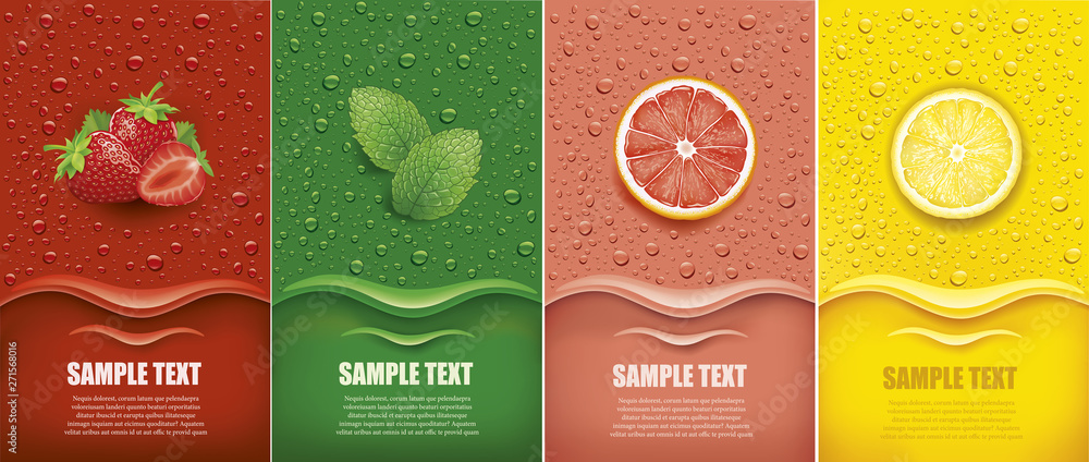 Fototapeta many fresh juice drops background with strawberry, mint, lemon, grapefrui
