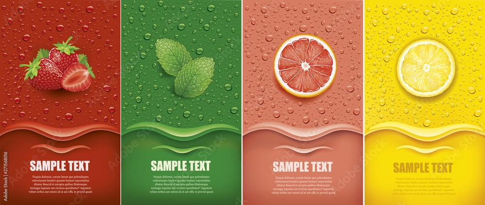 Fototapety, obrazy: many fresh juice drops background with strawberry, mint, lemon, grapefrui