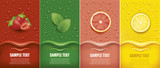 many fresh juice drops background with strawberry, mint, lemon, grapefrui