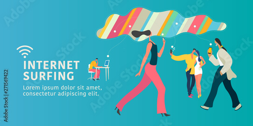 Internet connection and modern people vector concept flat illustration, banner