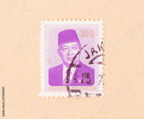 INDONESIA - CIRCA 1981: A stamp printed in Indonesia shows president Soekarno, c Poster Mural XXL