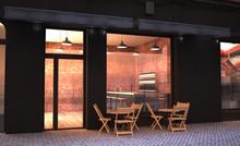 Cafe Store Facade Mockup