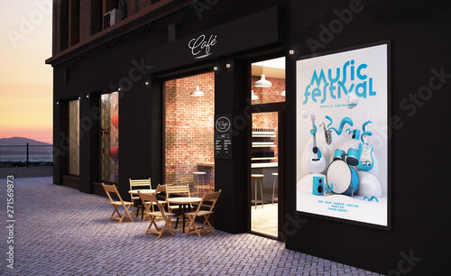 cafe store front mockup - 271569873