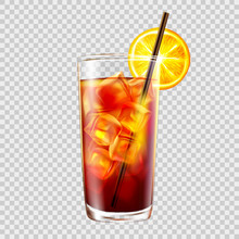 Cocktail In A Glass With A Straw On Background Of Transparency, Long Island Iced Tea.