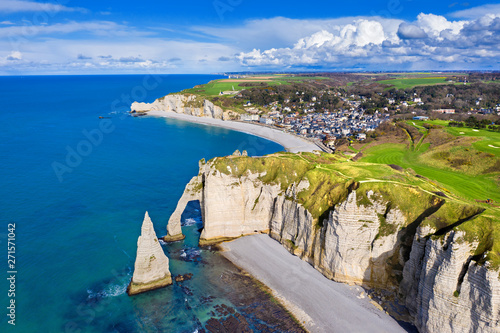 фотография aerial view, étretat normandy, france