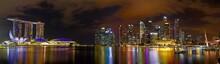 Singapore Financial District Skyline At Singapore Marina Bay At Night