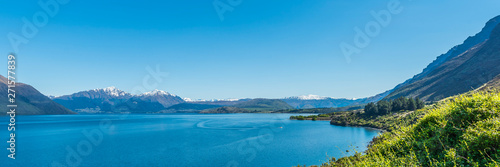 Foto auf AluDibond Blau View of the landscape of the lake Wakatipu, Queenstown, New Zealand. Copy space for text.