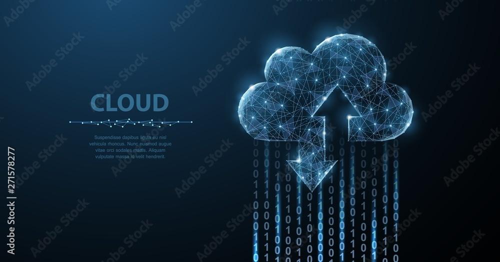 Fototapeta Cloud technology. Polygonal wireframe art looks like constellation. Concept illustration or background