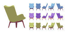 Retro Armchair Set. Soft Uphol...