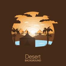 Landscape Desert.Bedouin Tent With Palms Near Oasis.Negative Space Illustration
