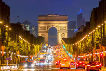 Champs Elysees And The Arc De Triomphe At Night
