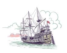 Old Ship Vector Sketch Illustration Gdansk Watercolor