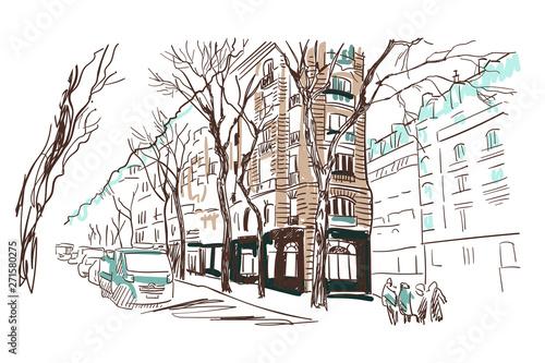 Deurstickers Illustratie Parijs paris european street vector sketch illustration watercolor