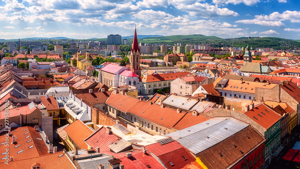 Fototapety, obrazy: Panoramic view of Kosice Old city from St. Elisabeth Cathedral, scenic daytime cityscape with streets, red tiled roofs of medieval buildings and blue cloudy sky, urban skyline, Slovakia (Slovensko)