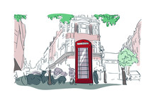 London Red Phone Booth Vector Watercolor Illustration Street View
