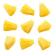 canvas print picture - Canned pineapple chunks. Pineapple slices isolated. Set of pineapple chunks. Clipping path.
