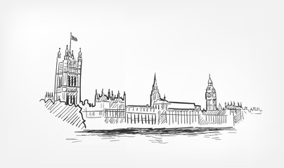 sketch vector illustration London line minochrome isolated
