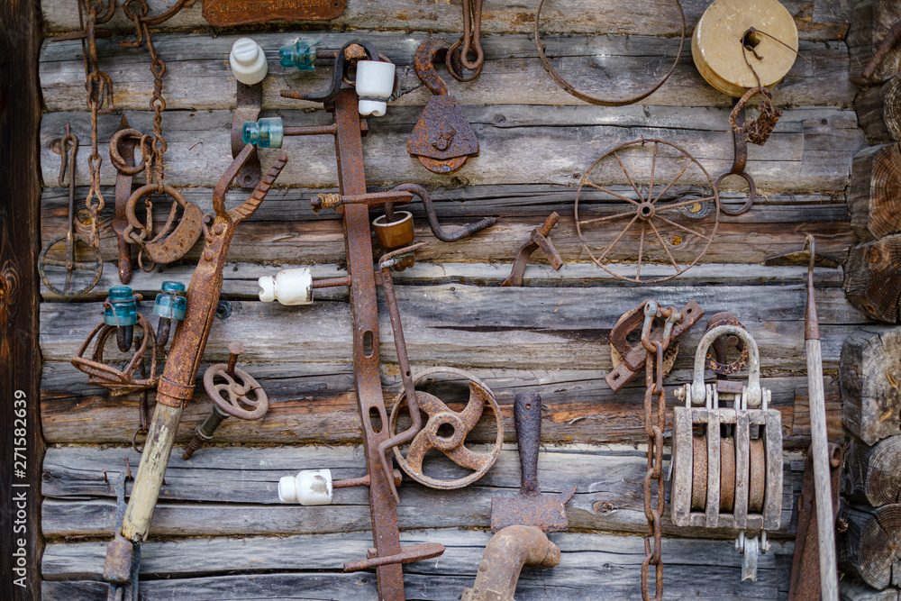 old rusty metal parts from old instruments and mechanics