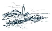 Portland Lighthouse Vector Sketch Landscape Line Illustration Skyline