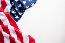 Top View Of Flag Of The United States Of America On White Background.  Independence Day USA, Memorial.