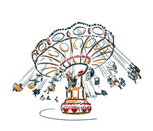 Carousel Vector Sketch Clip Art Isolated Illustration