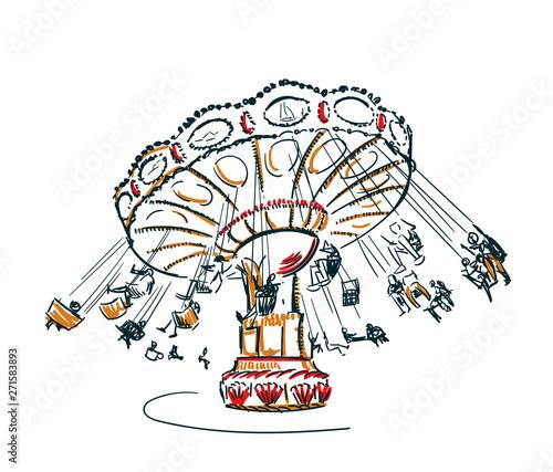 Leinwand Poster carousel vector sketch clip art isolated illustration