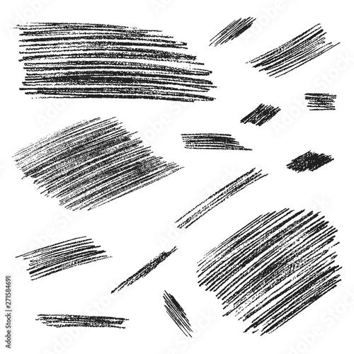 Fototapeta Hand drawn rough pencil scribbles. Edge torn texture. Vector isolated grunge stroke frames. obraz na płótnie