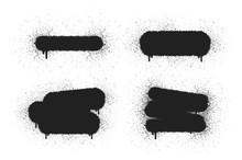 Graffiti Frames Set For Text Banner. Grunge Spray Background. Vector Isolated Illustration. Airbrush Drip Border.