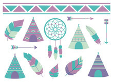 Feathers, Dreamcatcher, Arrows And Tipi Tent With Bohemian Ethno Pattern, A Cute Cartoon Style Vector Illustration Collection For Children Designs