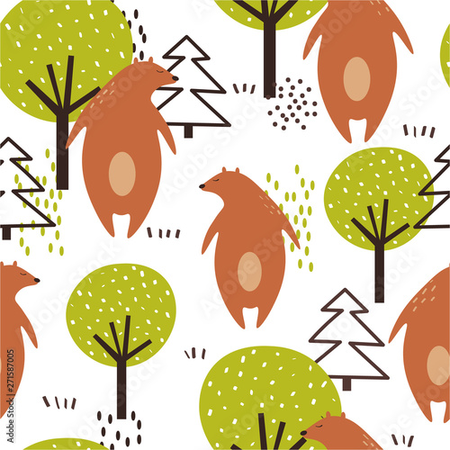 Seamless pattern, bears, trees and fir-trees, hand drawn overlapping backdrop. Colorful background vector. Illustration with animals. Decorative wallpaper, good for printing
